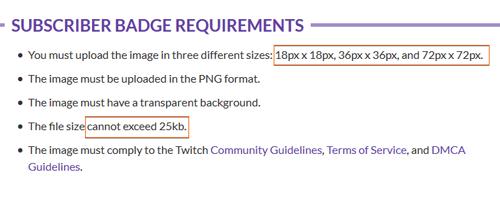 Twitch Sub Badge Size